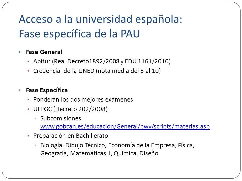 Acceso a la universidad española: Fase específica de la PAU Fase General Abitur (Real Decreto1892/2008 y EDU 1161/2010) Credencial de la UNED (nota media del 5 al 10) Fase Específica Ponderan los dos mejores exámenes ULPGC (Decreto 202/2008) Subcomisiones www.gobcan.es/educacion/General/pwv/scripts/materias.asp www.gobcan.es/educacion/General/pwv/scripts/materias.asp Preparación en Bachillerato Biología, Dibujo Técnico, Economía de la Empresa, Física, Geografía, Matemáticas II, Química, Diseño