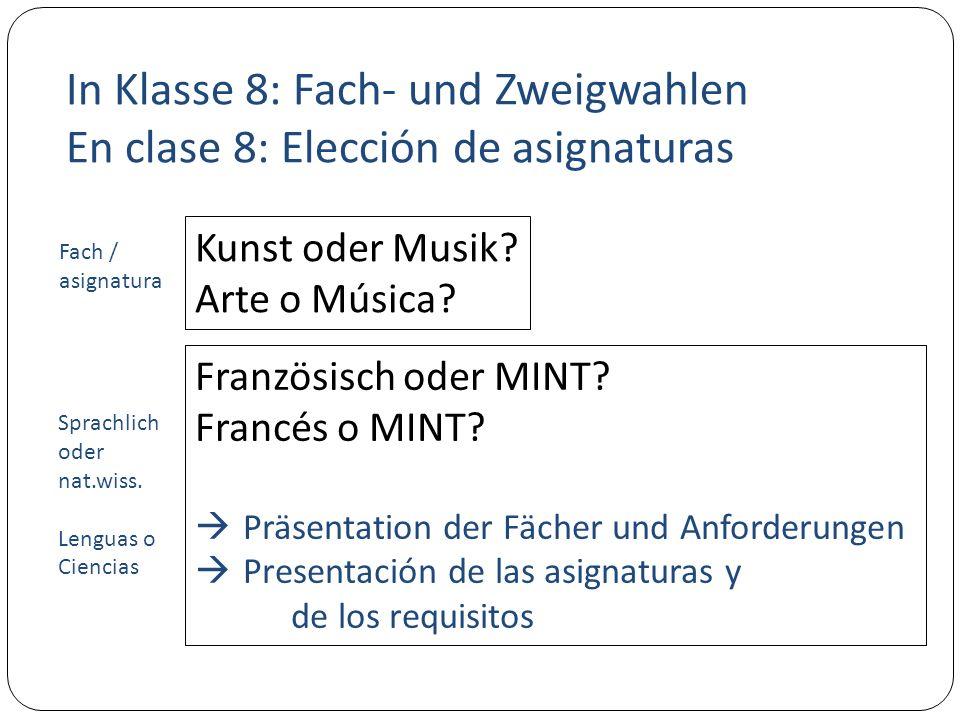 In Klasse 8: Fach- und Zweigwahlen En clase 8: Elección de asignaturas Kunst oder Musik.