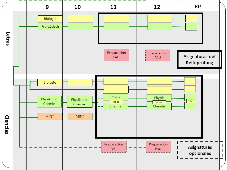 Fächer in der Oberstufe (11/12) Asignaturas del Curso Superior (11/12) Pflichtfächer – asignaturas obligatorias Deutsch, Spanisch, Englisch, Mathematik, 1.