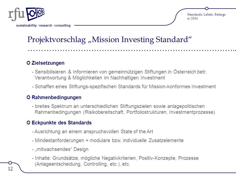 sustainability · research · consulting Standards, Labels, Ratings 4/2016 O Zielsetzungen - Sensibilisieren & Informieren von gemeinnützigen Stiftungen in Österreich betr.