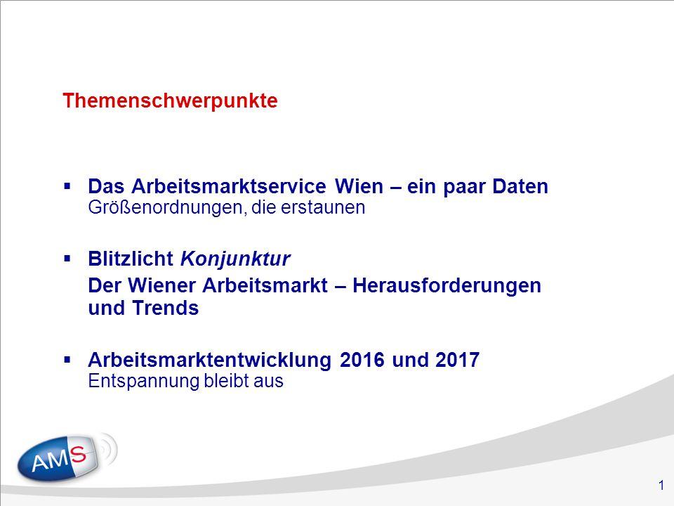 1 Themenschwerpunkte  Das Arbeitsmarktservice Wien – ein paar Daten Größenordnungen, die erstaunen  Blitzlicht Konjunktur Der Wiener Arbeitsmarkt – Herausforderungen und Trends  Arbeitsmarktentwicklung 2016 und 2017 Entspannung bleibt aus