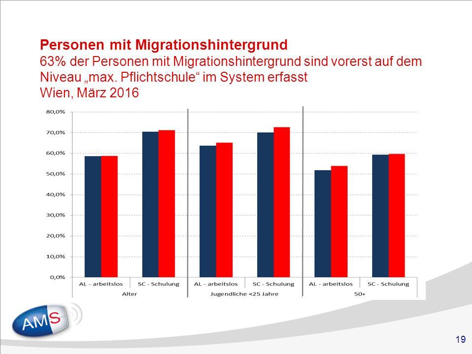"""19 Personen mit Migrationshintergrund 63% der Personen mit Migrationshintergrund sind vorerst auf dem Niveau """"max."""