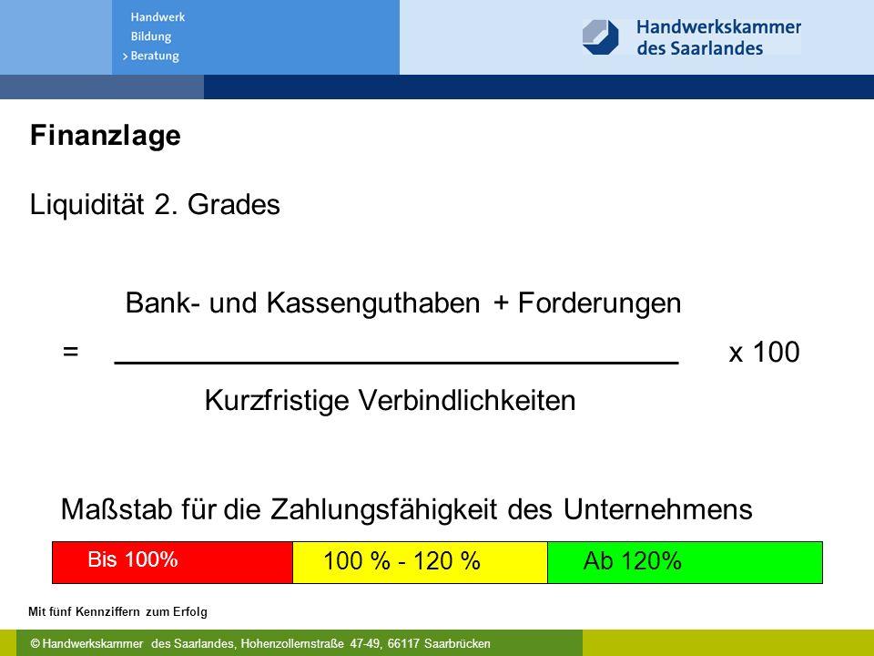 © Handwerkskammer des Saarlandes, Hohenzollernstraße 47-49, 66117 Saarbrücken Mit fünf Kennziffern zum Erfolg Finanzlage Liquidität 2.