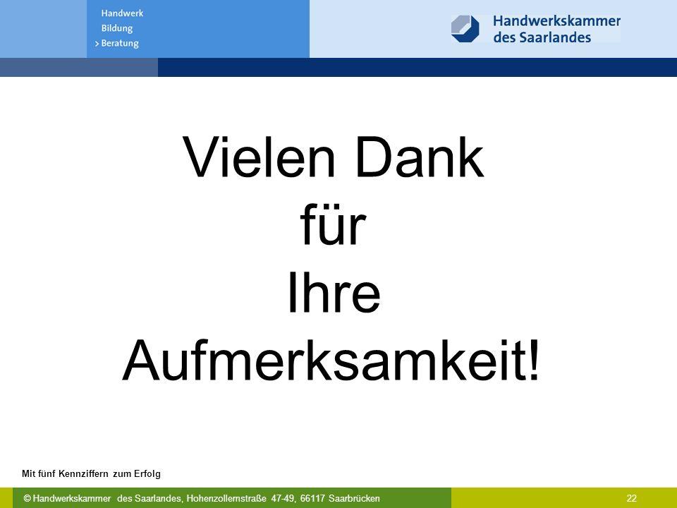 © Handwerkskammer des Saarlandes, Hohenzollernstraße 47-49, 66117 Saarbrücken Mit fünf Kennziffern zum Erfolg 22 Vielen Dank für Ihre Aufmerksamkeit!