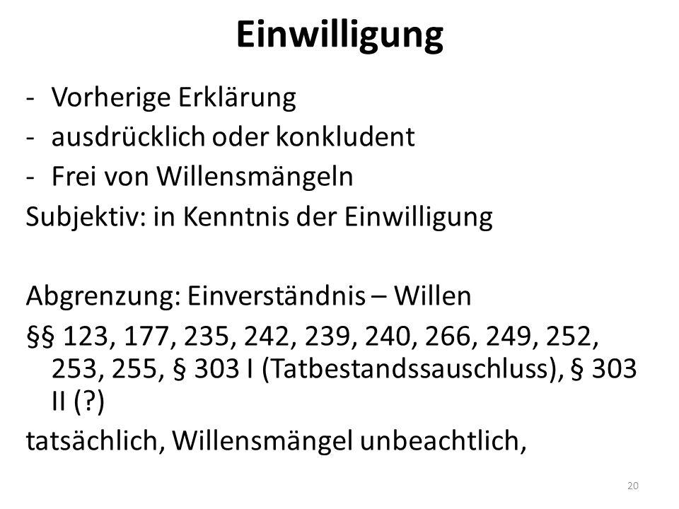 Einwilligung -Vorherige Erklärung -ausdrücklich oder konkludent -Frei von Willensmängeln Subjektiv: in Kenntnis der Einwilligung Abgrenzung: Einverständnis – Willen §§ 123, 177, 235, 242, 239, 240, 266, 249, 252, 253, 255, § 303 I (Tatbestandssauschluss), § 303 II ( ) tatsächlich, Willensmängel unbeachtlich, 20