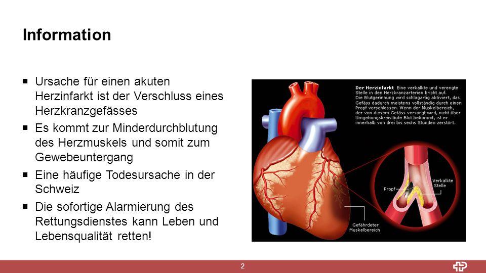 2 Information  Ursache für einen akuten Herzinfarkt ist der Verschluss eines Herzkranzgefässes  Es kommt zur Minderdurchblutung des Herzmuskels und somit zum Gewebeuntergang  Eine häufige Todesursache in der Schweiz  Die sofortige Alarmierung des Rettungsdienstes kann Leben und Lebensqualität retten!