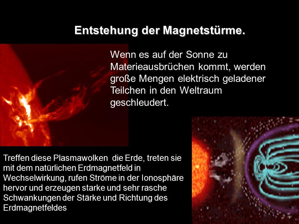 Entstehung der Magnetstürme. Wenn es auf der Sonne zu Materieausbrüchen kommt, werden große Mengen elektrisch geladener Teilchen in den Weltraum gesch