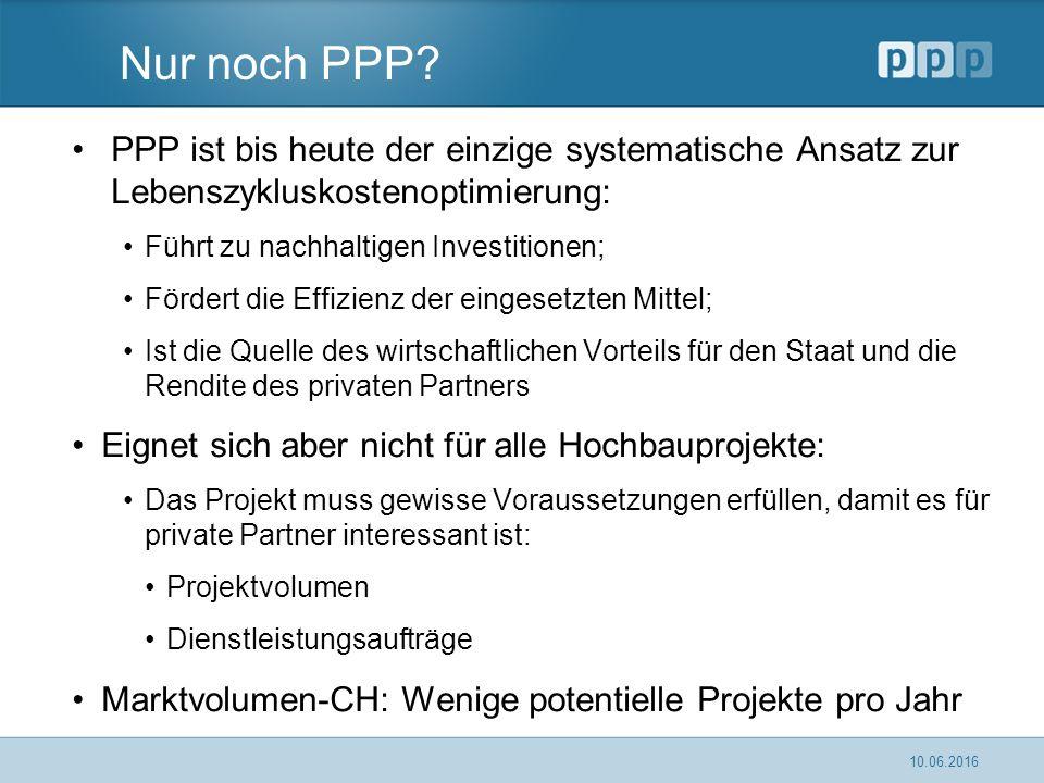 Nur noch PPP? PPP ist bis heute der einzige systematische Ansatz zur Lebenszykluskostenoptimierung: Führt zu nachhaltigen Investitionen; Fördert die E