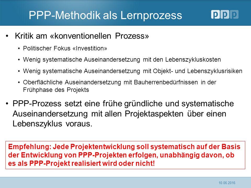 PPP-Methodik als Lernprozess Kritik am «konventionellen Prozess» Politischer Fokus «Investition» Wenig systematische Auseinandersetzung mit den Lebens