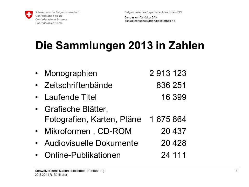 7 Schweizerische Nationalbibliothek | Einführung 22.5.2014 R. Büttikofer Eidgenössisches Departement des Innern EDI Bundesamt für Kultur BAK Schweizer