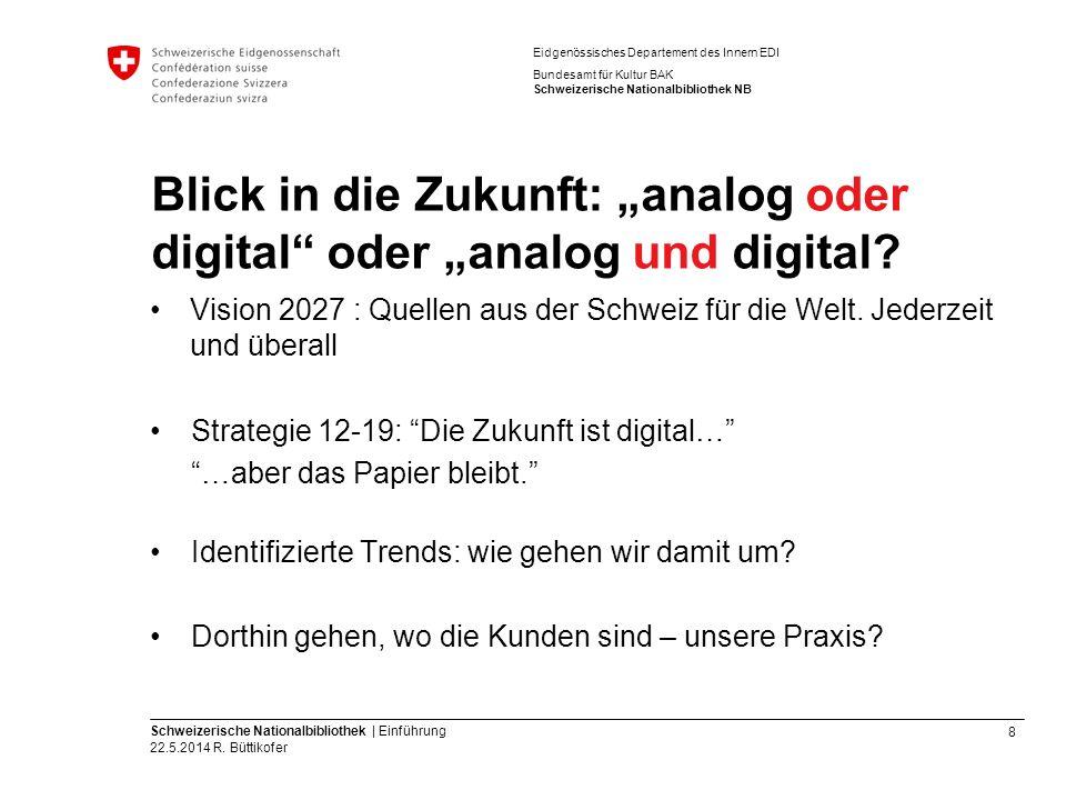 8 Schweizerische Nationalbibliothek | Einführung 22.5.2014 R. Büttikofer Eidgenössisches Departement des Innern EDI Bundesamt für Kultur BAK Schweizer