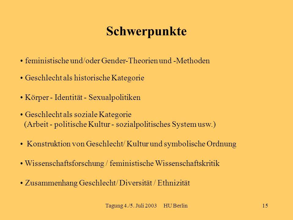 Tagung 4./5. Juli 2003 HU Berlin15 Schwerpunkte feministische und/oder Gender-Theorien und -Methoden Geschlecht als historische Kategorie Geschlecht a
