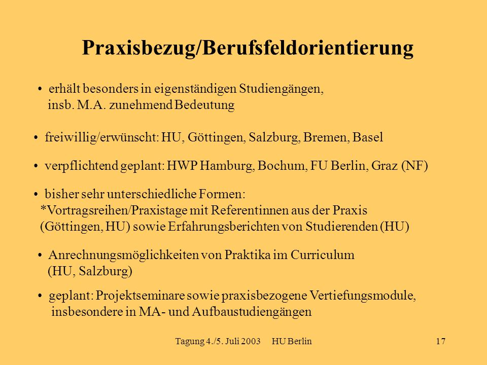 Tagung 4./5. Juli 2003 HU Berlin17 Praxisbezug/Berufsfeldorientierung erhält besonders in eigenständigen Studiengängen, insb. M.A. zunehmend Bedeutung