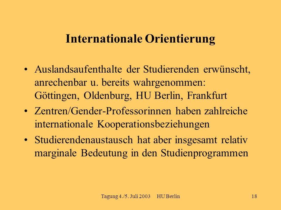 Tagung 4./5. Juli 2003 HU Berlin18 Internationale Orientierung Auslandsaufenthalte der Studierenden erwünscht, anrechenbar u. bereits wahrgenommen: Gö