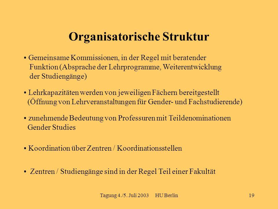 Tagung 4./5. Juli 2003 HU Berlin19 Organisatorische Struktur Gemeinsame Kommissionen, in der Regel mit beratender Funktion (Absprache der Lehrprogramm
