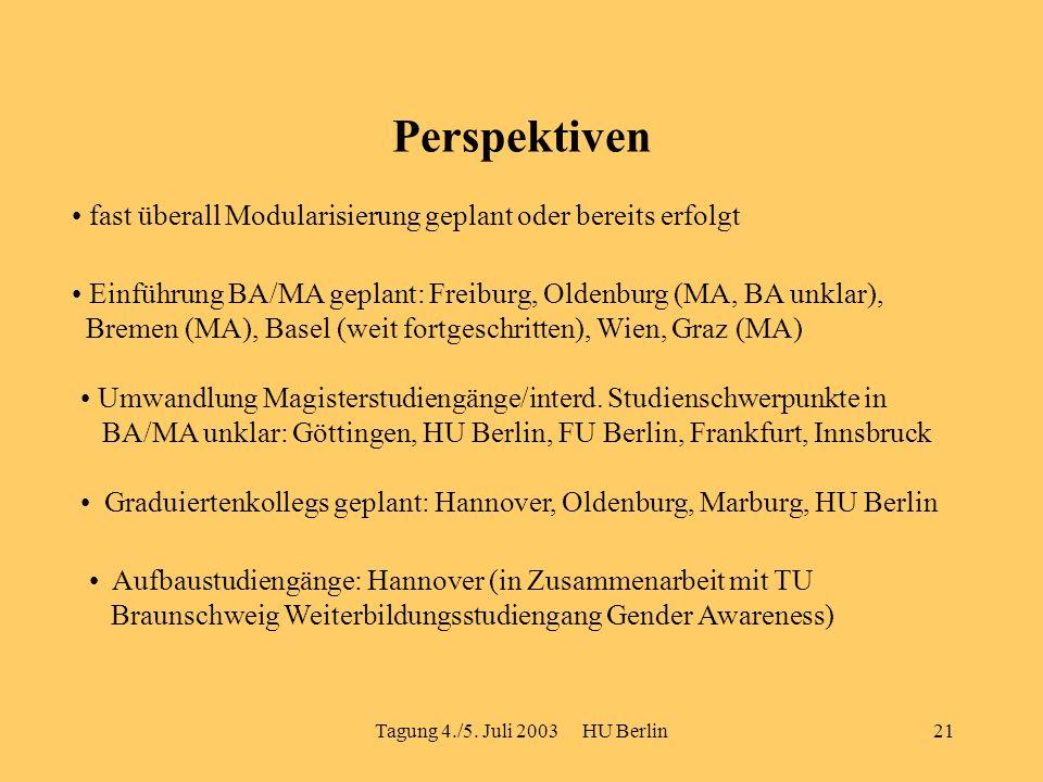 Tagung 4./5. Juli 2003 HU Berlin21 Perspektiven fast überall Modularisierung geplant oder bereits erfolgt Einführung BA/MA geplant: Freiburg, Oldenbur