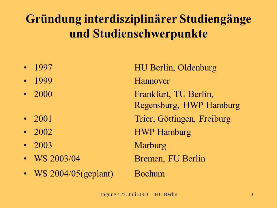 Tagung 4./5. Juli 2003 HU Berlin3 Gründung interdisziplinärer Studiengänge und Studienschwerpunkte 1997 HU Berlin, Oldenburg 1999 Hannover 2000Frankfu