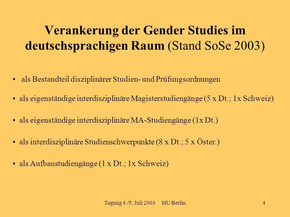 Tagung 4./5. Juli 2003 HU Berlin4 Verankerung der Gender Studies im deutschsprachigen Raum (Stand SoSe 2003) als Bestandteil disziplinärer Studien- un