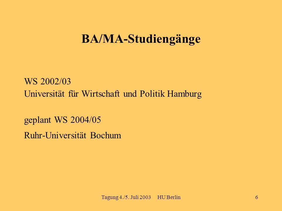 Tagung 4./5. Juli 2003 HU Berlin6 BA/MA-Studiengänge WS 2002/03 Universität für Wirtschaft und Politik Hamburg geplant WS 2004/05 Ruhr-Universität Boc