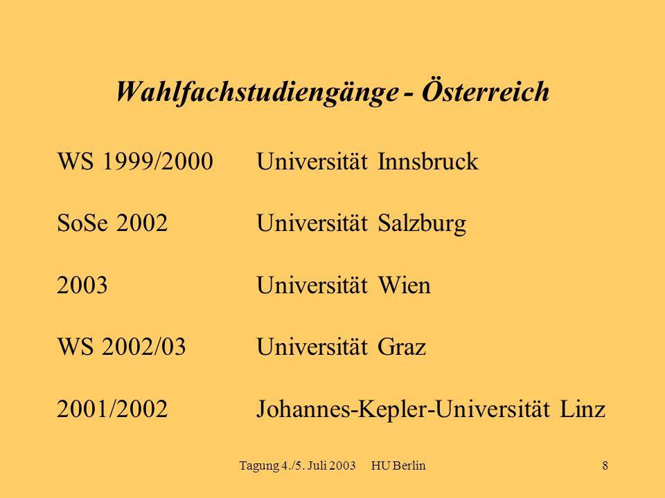 Tagung 4./5. Juli 2003 HU Berlin8 Wahlfachstudiengänge - Österreich WS 1999/2000Universität Innsbruck SoSe 2002Universität Salzburg 2003 Universität W