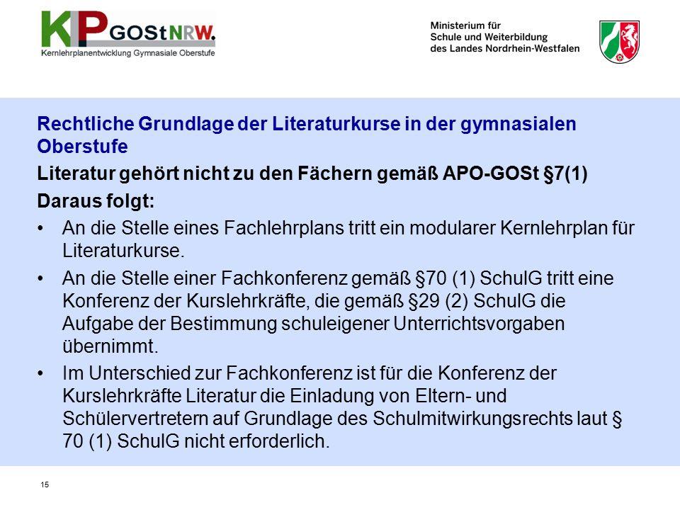 Rechtliche Grundlage der Literaturkurse in der gymnasialen Oberstufe Literatur gehört nicht zu den Fächern gemäß APO-GOSt §7(1) Daraus folgt: An die Stelle eines Fachlehrplans tritt ein modularer Kernlehrplan für Literaturkurse.