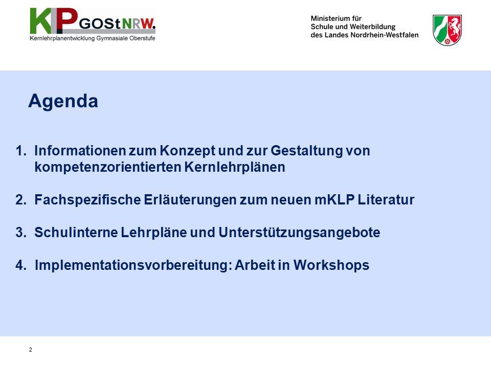 1. Informationen zum Konzept und zur Gestaltung von kompetenzorientierten Kernlehrplänen 2.