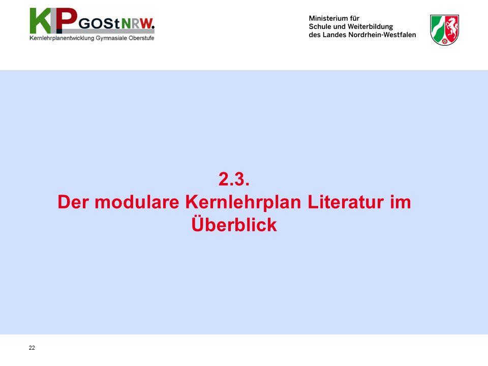 2.3. Der modulare Kernlehrplan Literatur im Überblick 22