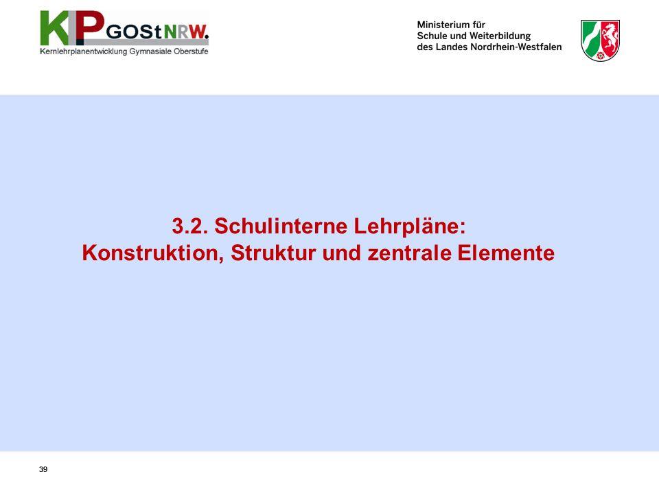 39 3.2. Schulinterne Lehrpläne: Konstruktion, Struktur und zentrale Elemente 39
