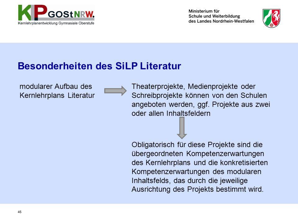 Besonderheiten des SiLP Literatur 45 modularer Aufbau des Kernlehrplans Literatur Theaterprojekte, Medienprojekte oder Schreibprojekte können von den Schulen angeboten werden, ggf.