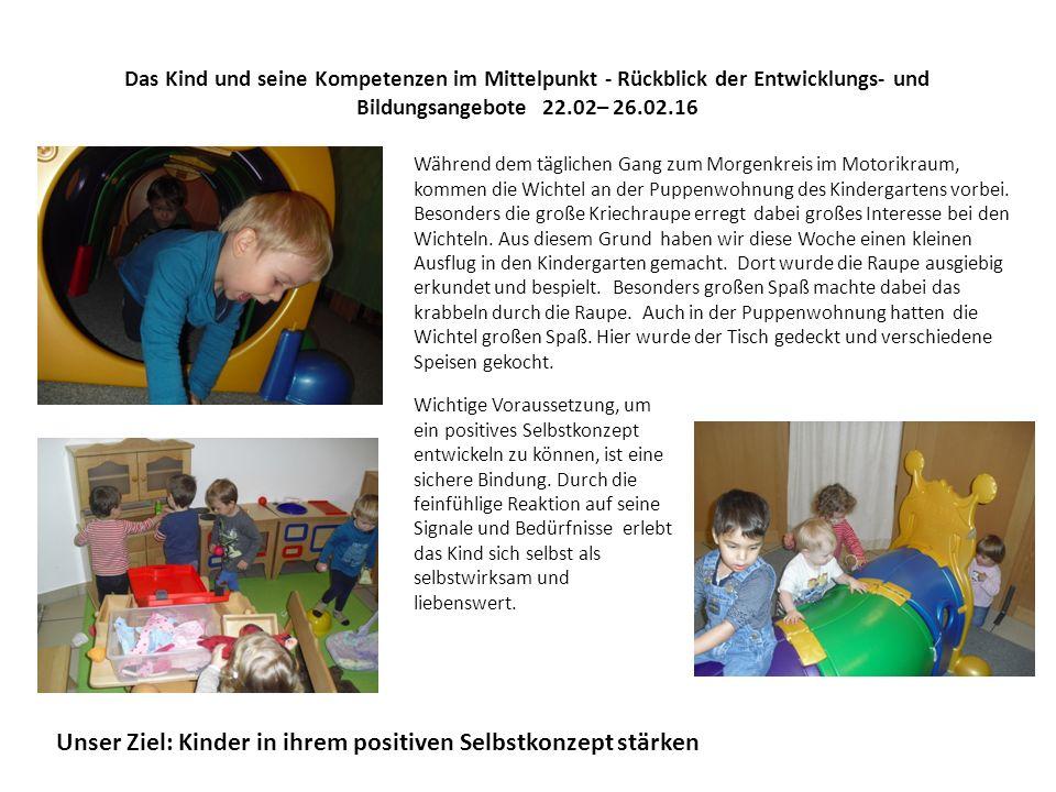 Das Kind und seine Kompetenzen im Mittelpunkt - Rückblick der Entwicklungs- und Bildungsangebote 22.02– 26.02.16 Während dem täglichen Gang zum Morgen