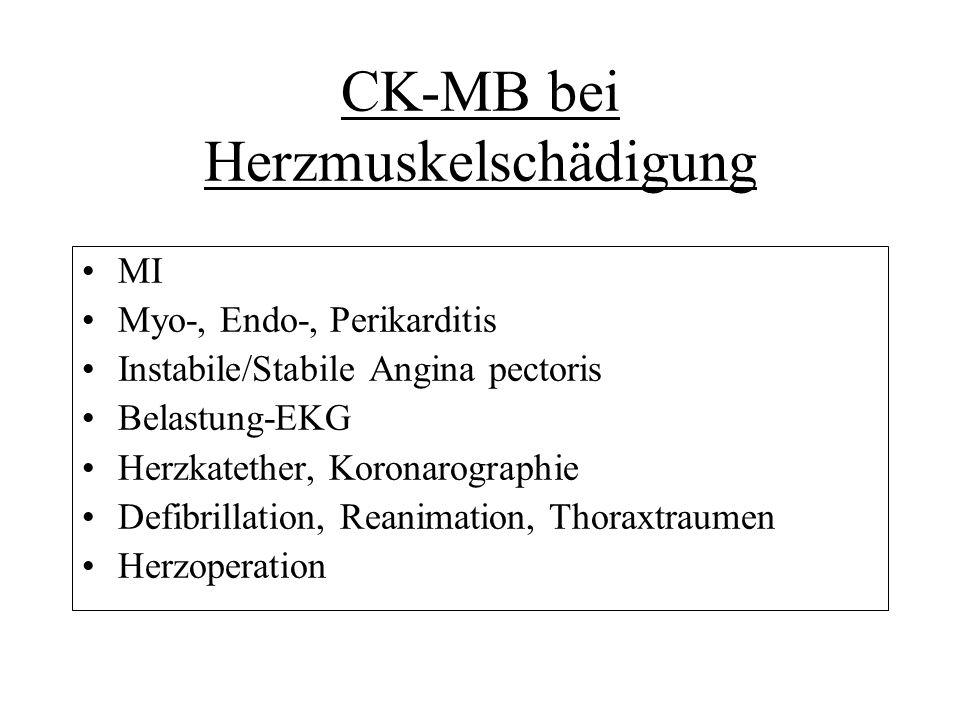CK/CK-MB bei akuten Skeletmuskelschädigungen Häufige Konstellation: CK-MB<3% Körperliche Aktivität: physikalische Übungen, Krankheiten Injektionen Traumen Polymyositis Medikamente, Gifte