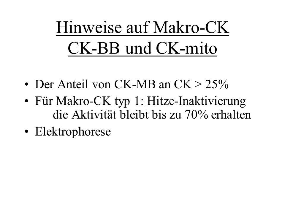 Regeln zur Interpretation des CK-Wertes 6%-Regel – Anteil von CK-MB an CK> 6% spricht für MI 24 U/L-Regel – Die Aktivität von CK- MB<24 U/L spricht gegen MI 7500 U/L-Regel – bei MI überschreitet CK- Wert nur selten 7500 U/L