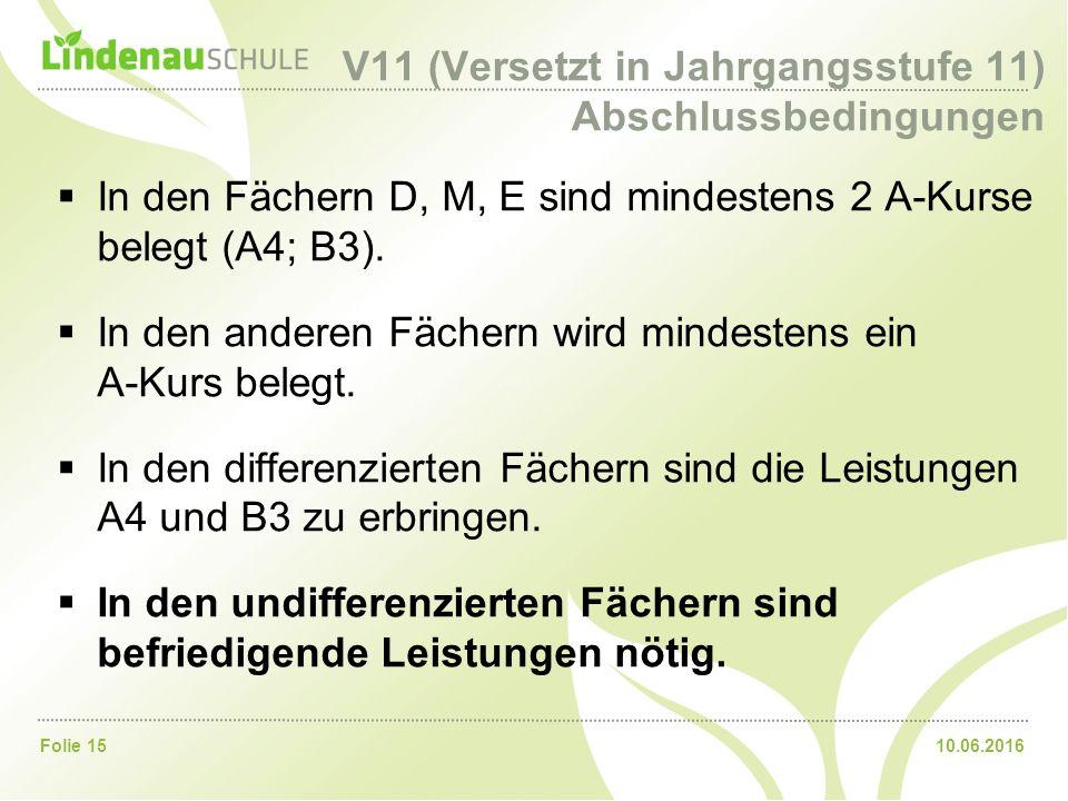 10.06.2016Folie 15 V11 (Versetzt in Jahrgangsstufe 11) Abschlussbedingungen  In den Fächern D, M, E sind mindestens 2 A-Kurse belegt (A4; B3).  In d