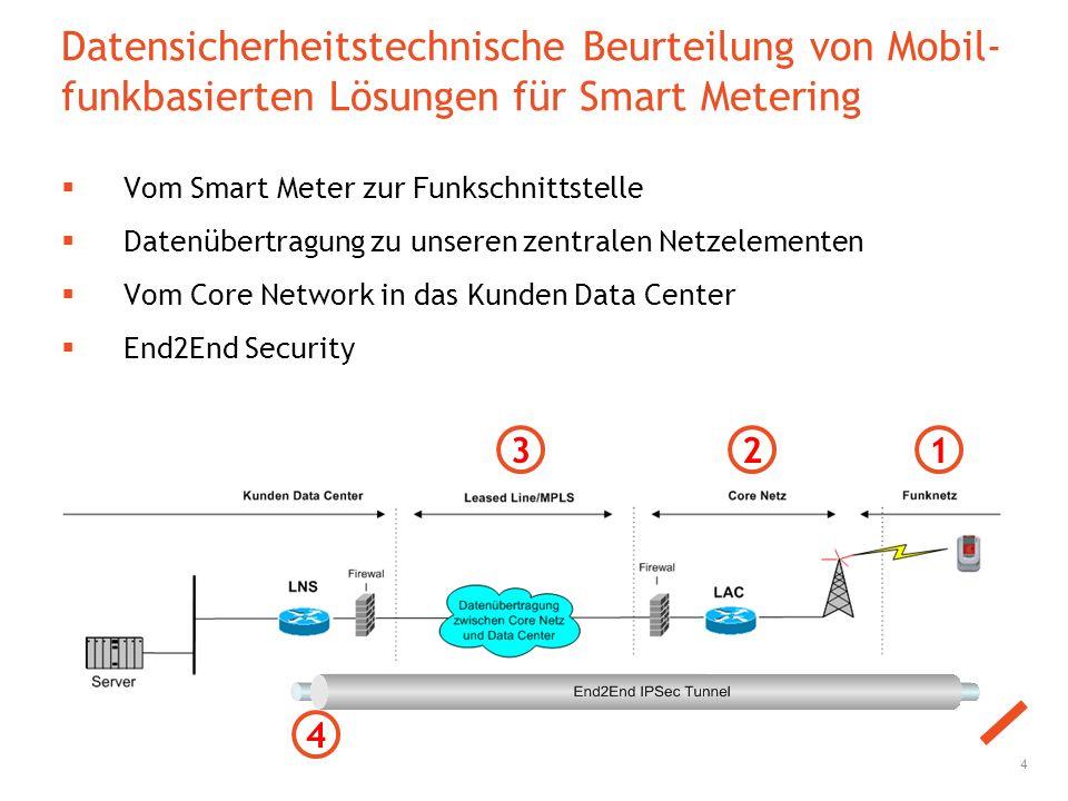 Datensicherheitstechnische Beurteilung von Mobil- funkbasierten Lösungen für Smart Metering  Vom Smart Meter zur Funkschnittstelle  Datenübertragung zu unseren zentralen Netzelementen  Vom Core Network in das Kunden Data Center  End2End Security 4 123 4