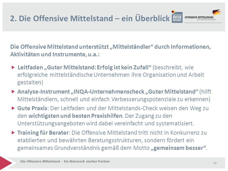 """Die Offensive Mittelstand unterstützt """"Mittelständler"""" durch Informationen, Aktivitäten und Instrumente, u.a.:  Leitfaden """"Guter Mittelstand: Erfolg"""