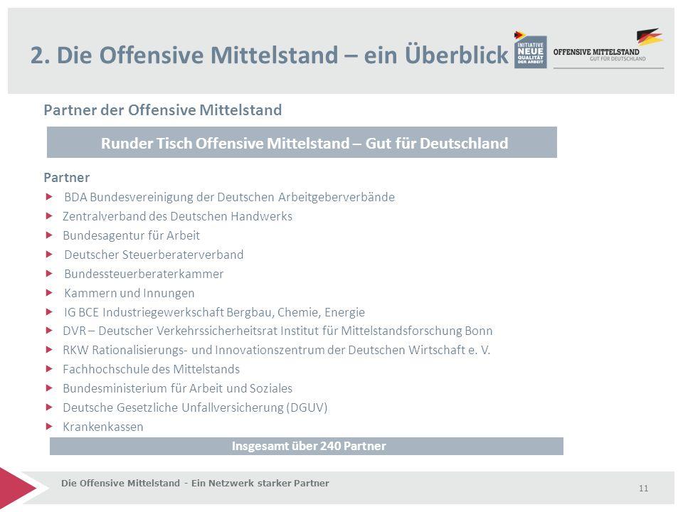 Partner der Offensive Mittelstand Partner  BDA Bundesvereinigung der Deutschen Arbeitgeberverbände  Zentralverband des Deutschen Handwerks  Bundesa