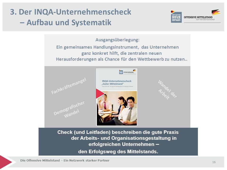 3. Der INQA-Unternehmenscheck – Aufbau und Systematik Die Offensive Mittelstand - Ein Netzwerk starker Partner 16 Ausgangsüberlegung: Ein gemeinsames