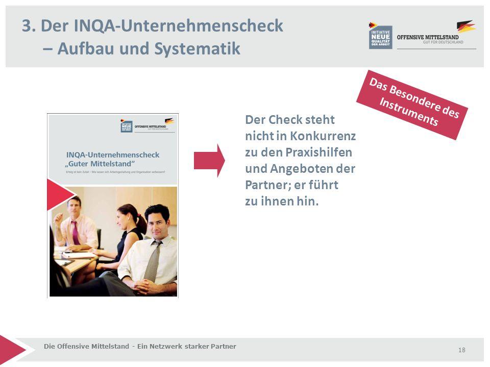 3. Der INQA-Unternehmenscheck – Aufbau und Systematik Die Offensive Mittelstand - Ein Netzwerk starker Partner 18 Der Check steht nicht in Konkurrenz