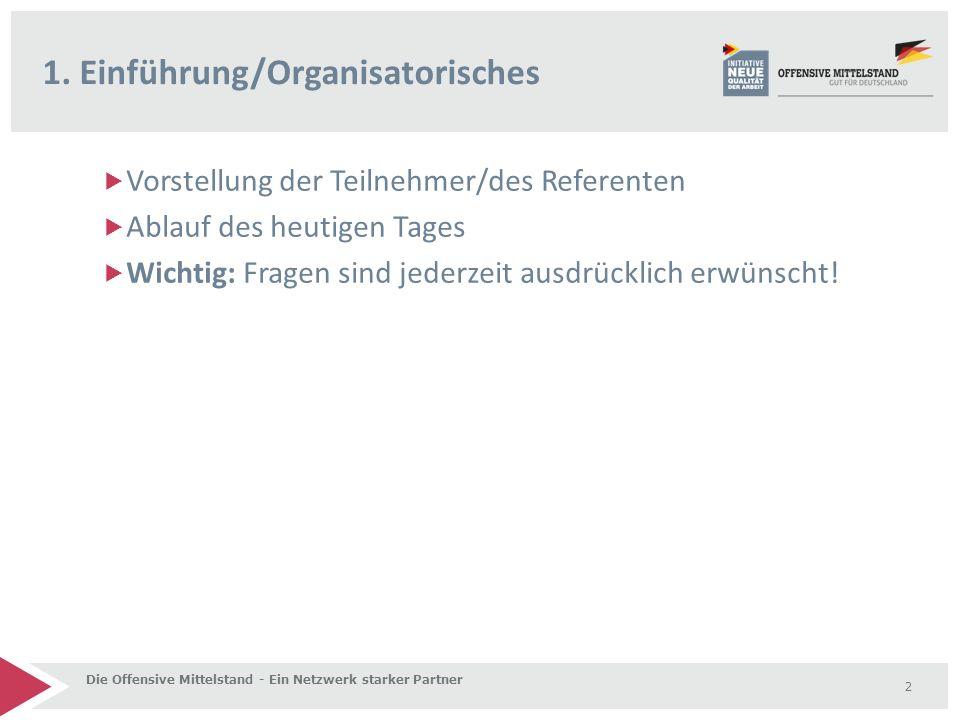  Vorstellung der Teilnehmer/des Referenten  Ablauf des heutigen Tages  Wichtig: Fragen sind jederzeit ausdrücklich erwünscht! 1. Einführung/Organis