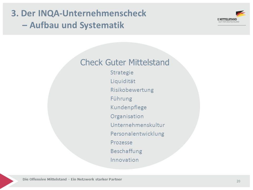 3. Der INQA-Unternehmenscheck – Aufbau und Systematik Die Offensive Mittelstand - Ein Netzwerk starker Partner 20 Check Guter Mittelstand Strategie Li