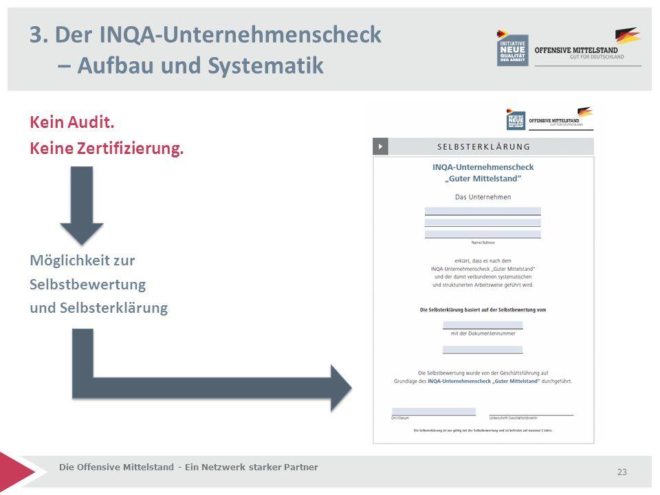 Kein Audit. Keine Zertifizierung. Möglichkeit zur Selbstbewertung und Selbsterklärung 3. Der INQA-Unternehmenscheck – Aufbau und Systematik Die Offens