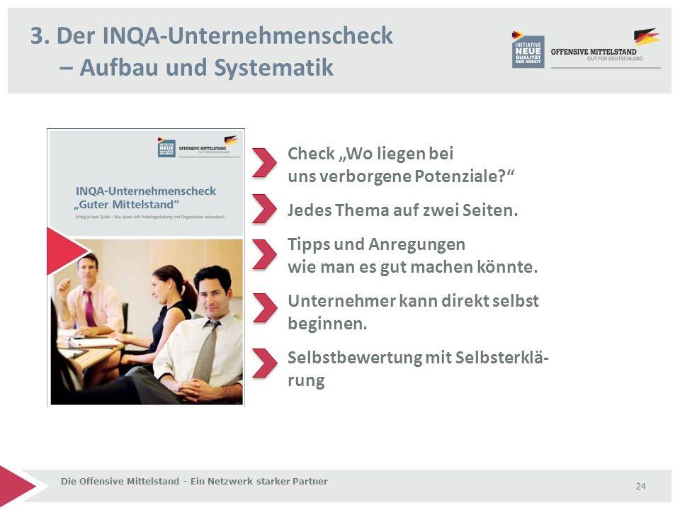 """3. Der INQA-Unternehmenscheck – Aufbau und Systematik Die Offensive Mittelstand - Ein Netzwerk starker Partner 24 Check """"Wo liegen bei uns verborgene"""