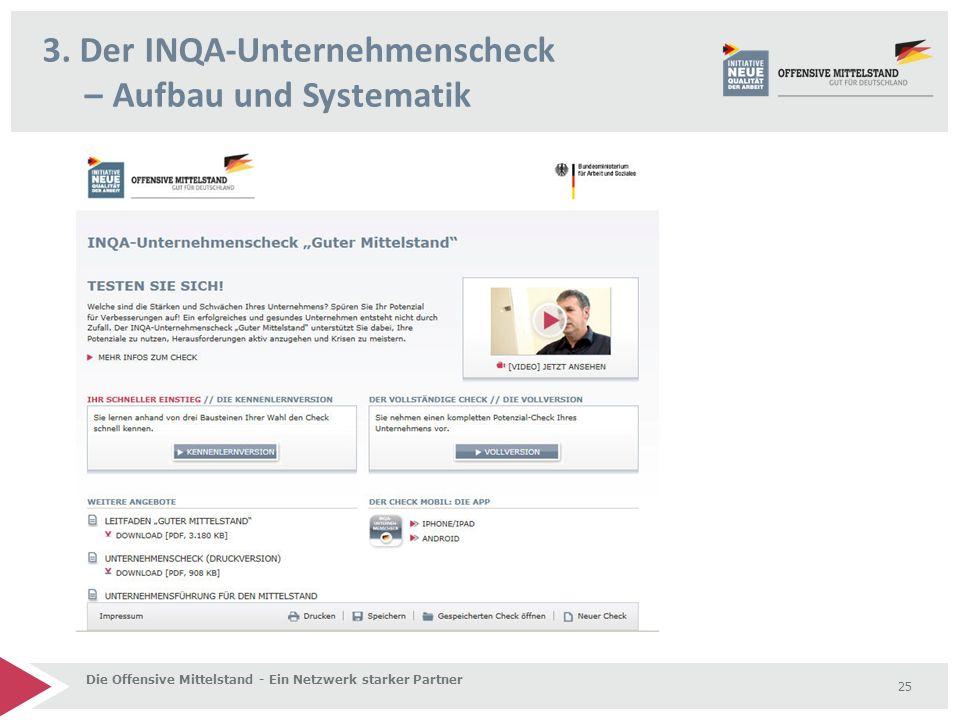 3. Der INQA-Unternehmenscheck – Aufbau und Systematik Die Offensive Mittelstand - Ein Netzwerk starker Partner 25