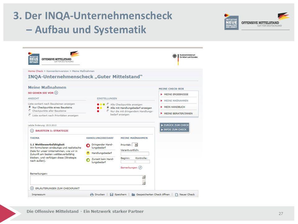 3. Der INQA-Unternehmenscheck – Aufbau und Systematik Die Offensive Mittelstand - Ein Netzwerk starker Partner 27