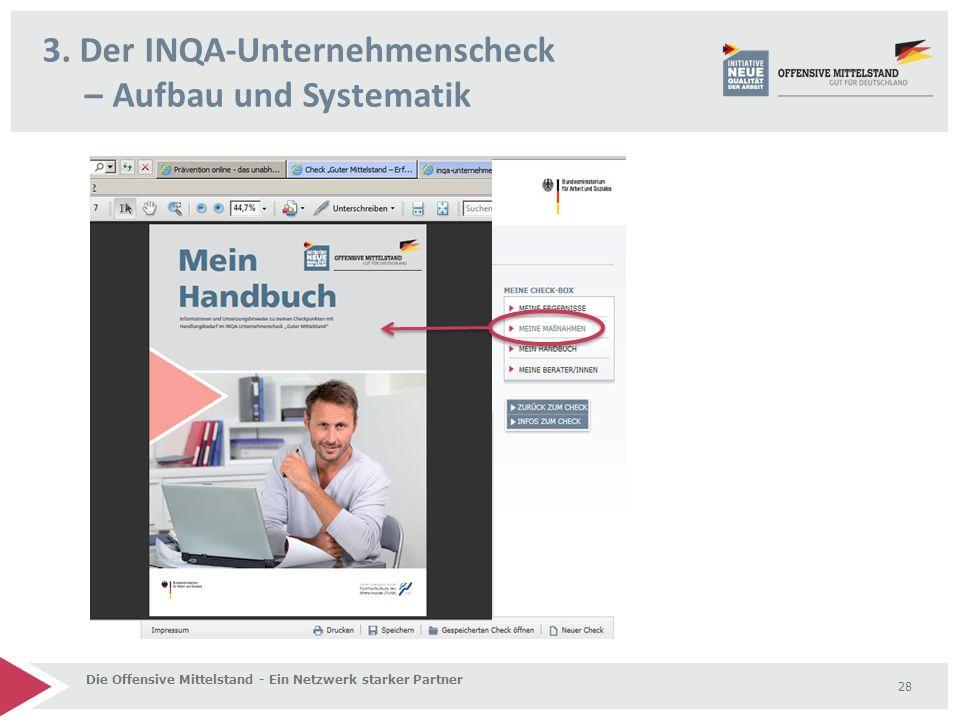 3. Der INQA-Unternehmenscheck – Aufbau und Systematik Die Offensive Mittelstand - Ein Netzwerk starker Partner 28