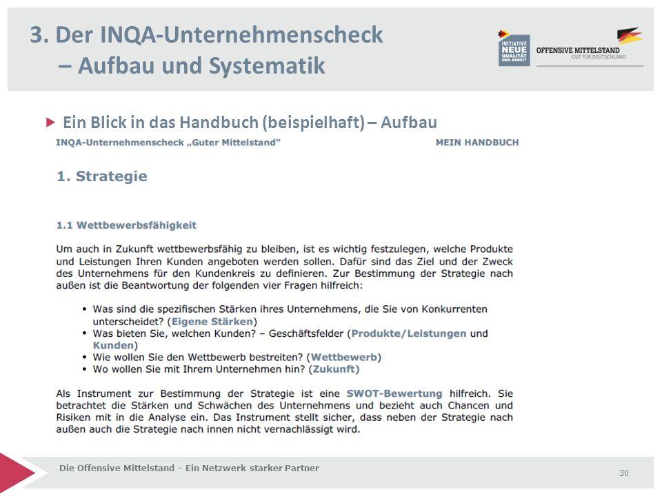  Ein Blick in das Handbuch (beispielhaft) – Aufbau 3. Der INQA-Unternehmenscheck – Aufbau und Systematik Die Offensive Mittelstand - Ein Netzwerk sta
