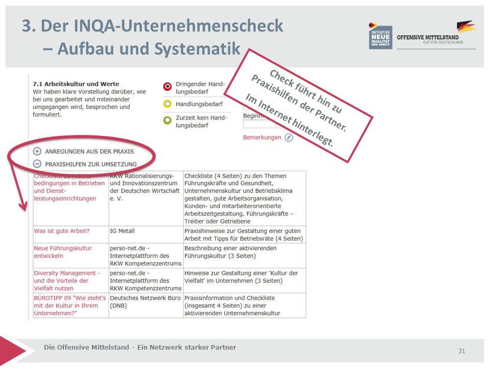 3. Der INQA-Unternehmenscheck – Aufbau und Systematik Die Offensive Mittelstand - Ein Netzwerk starker Partner 31 Check führt hin zu Praxishilfen der