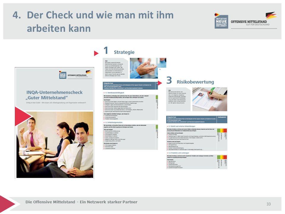 4.Der Check und wie man mit ihm arbeiten kann Die Offensive Mittelstand - Ein Netzwerk starker Partner 33