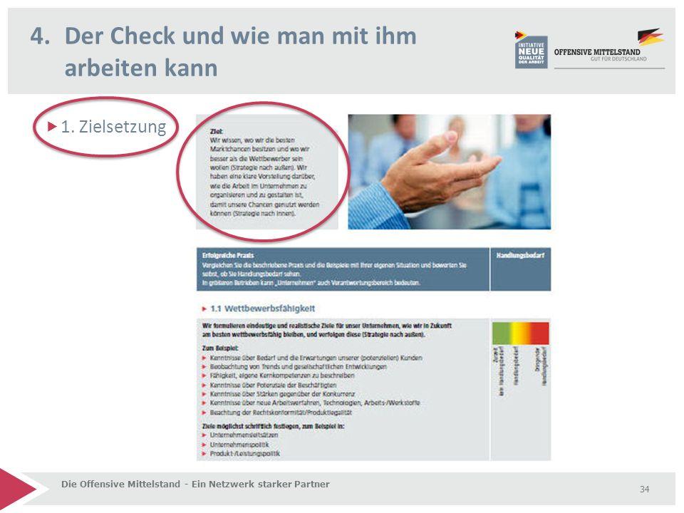  1. Zielsetzung 4.Der Check und wie man mit ihm arbeiten kann Die Offensive Mittelstand - Ein Netzwerk starker Partner 34