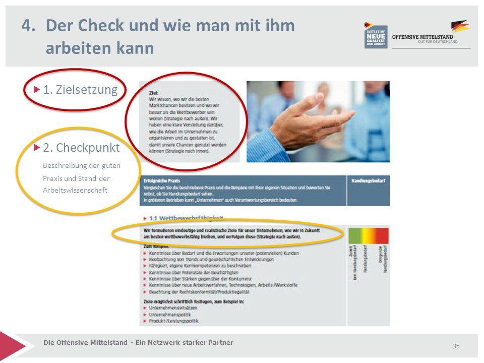 4.Der Check und wie man mit ihm arbeiten kann Die Offensive Mittelstand - Ein Netzwerk starker Partner 35  1.